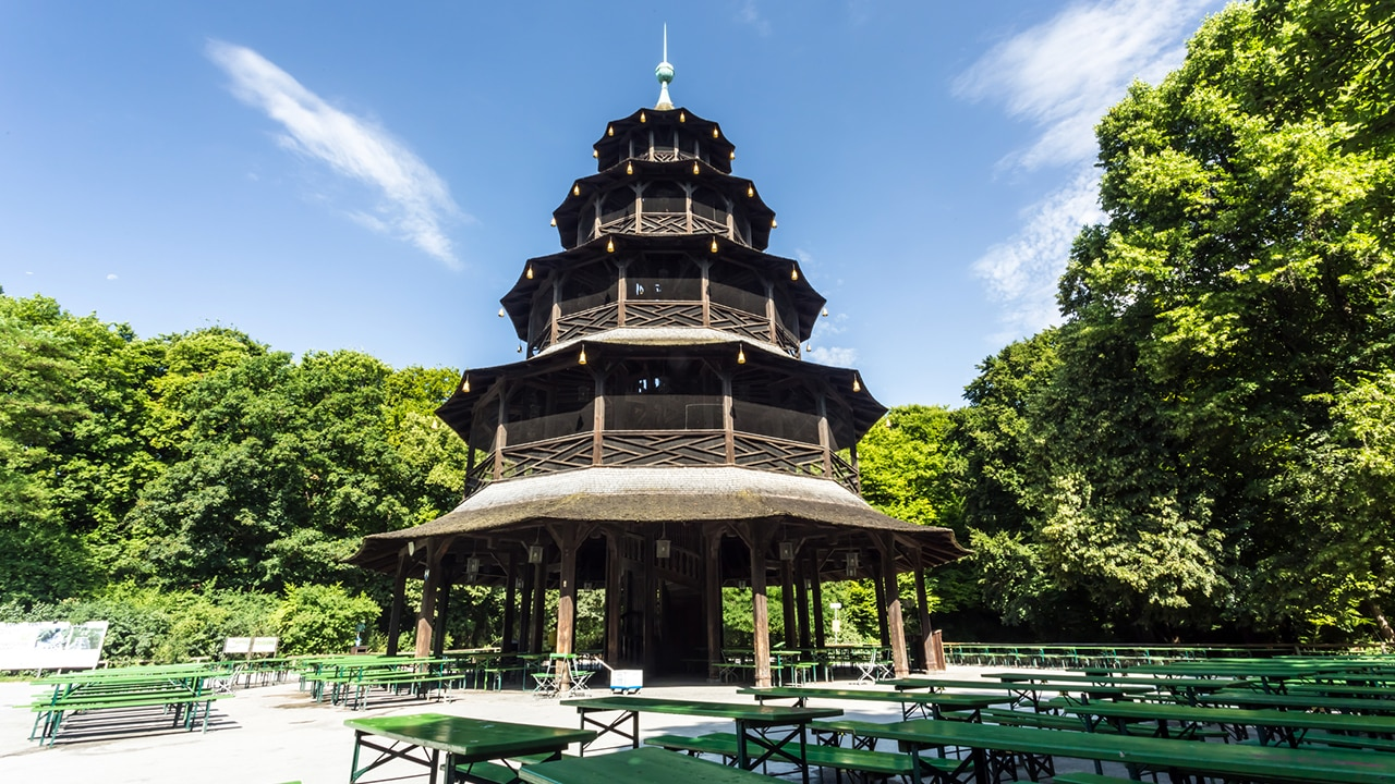 The Chinese Pagoda towering in the Englischer Garten