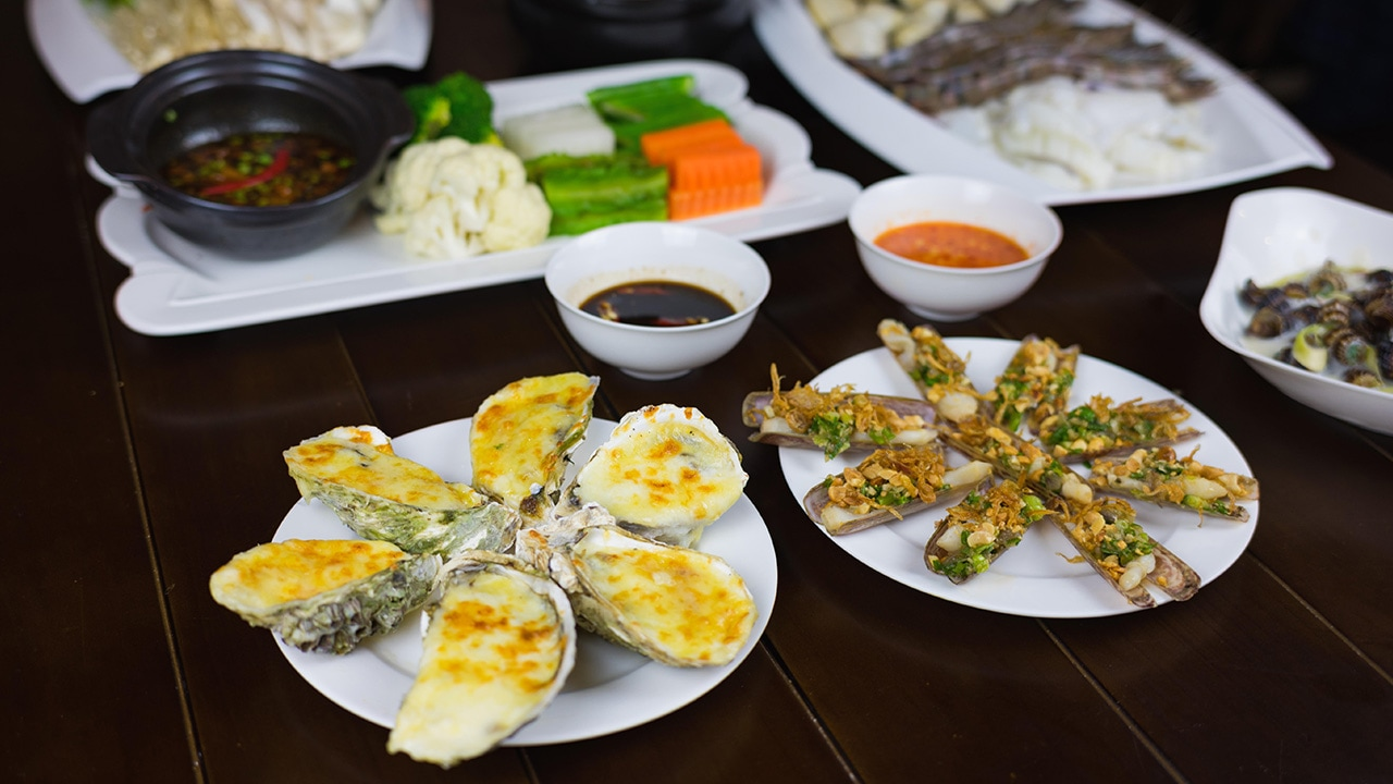 Traditional seafood dishes